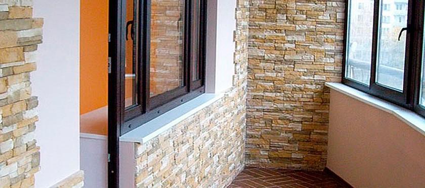 Декоративный камень для внутренней отделки балкона